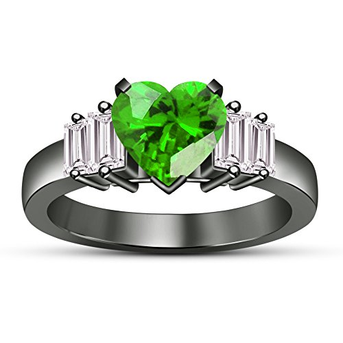 Baguette Ring Heart (luxrygld 0.95Ctw Heart Cut Simulated Green Emerald & Baguette 14K Black Gold Pl Heart Fashion Ring)