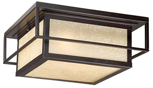 Vaxcel RBOFU120EB 2 Light Robie Flush Outdoor Close to Ceiling Light, Espresso Bronze