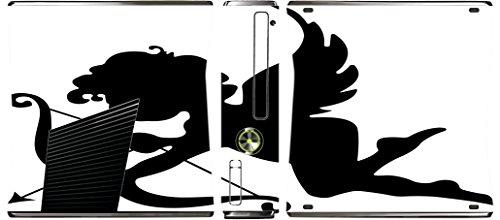 Skin White Arrow - Silhouette Cupid Arrow Cherub Black White Printed Design Xbox 360 Slim (2010) Vinyl Decal Sticker Skin by Smarter Designs