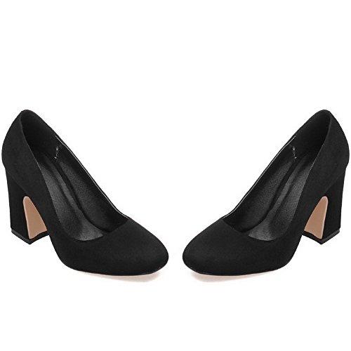 scarpe Weipoot Punta Quadrato Chiusa Tacchi Pompe Scamosciata Imitato Nere Solido Il Trazione Femminile qFaqPwr