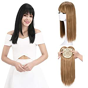 """REECHO 18"""" Synthetic Hair Topper Wiglet Hair Enhancer with Straight Bangs 3 Clips in Straight Hair Extensions Hair Closure Piece Hairpieces for Women - 27/613"""