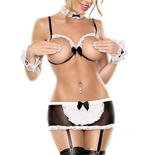 Fan008 Women Sexy Lingerie Lace Costume Cosplay French Maid Sexy Fancy Outfit Skirt (Womens Sexy French Maid Costume)
