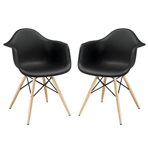 Modway Pyramid Dining Armchair, Black, Set of 2