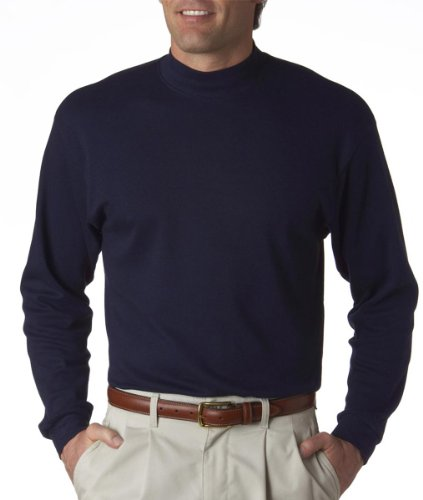(UltraClub mens Egyptian Interlock Long-Sleeve Mock Turtleneck(8510)-NAVY-M)