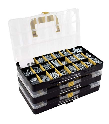 JACKSON PALMER 1,300 Piece Hardware Assortment Kit with Screws, Nuts, Bolts & Washers (3 Trays)