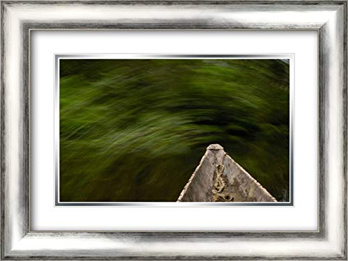 Dugout Canoe in Blackwater Stream, Yasuni National Park Biosphere Reserve, Amazon Rainforest, Ecuado 24x17 Silver Contemporary Wood Framed and Double Matted Art Print by Oxford, Pete (Best Wood For Dugout Canoe)