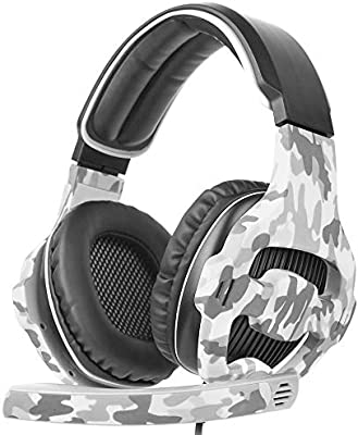 Sencillo Vida Auriculares Gaming Cascos de Camuflaje para PS4 / PC/Xbox One con Micrófono Headset Mac Estéreo Juego Gaming Jack 3,5mm Compatible con iPhone, ...