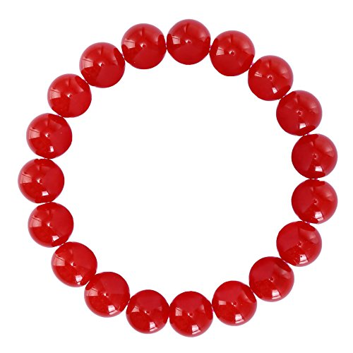 (BRCbeads Gemstone Bracelets Natural Red Jade Genuine Gemstones Birthstone Handmade Healing Power Crystal Beads Elastic Stretch 12mm 8.5 Inch with Gift Box Unisex)