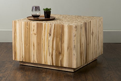 Natural Wood Square Table (East at Main Rolfe Brown Square Teakwood Coffee Table, (27.5x27.5x18))
