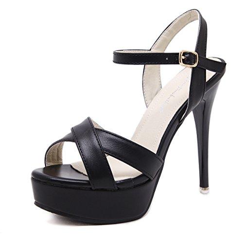 RUGAI-UE Zapatos de tacón alto para mujer, sandalias de verano, dedos de los pies europeos y americanos, y sandalias de gran tamaño. black