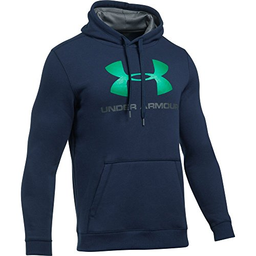 (Under Armour Men's Rival Fleece Fitted Graphic Hoodie,Midnight Navy/Glass Green, Small)
