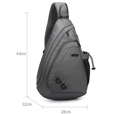 Messenger Students Backpack Grey Fashion Men Pockets Leisure Bag Chest Wild IBIxHwqZf