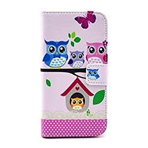 LIMME ships in 48 hours Owl Family Cartoon Pattern PU Leather Stand Case with Card Slot for Samsung Galaxy S4 I9500