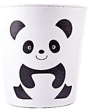 PHYNEDI Papelera Animal, Papelera de Oficina con Capacidad de 10 litros Fabricada en Cuero para Baño Cocina Cuarto de Los Niños (Panda)