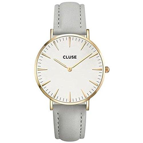 CLUSE La Bohème Gold White Grey CL18414 Women's Watch 38mm Leather Strap Minimalistic Design Casual Dress Japanese Quartz Elegant ()