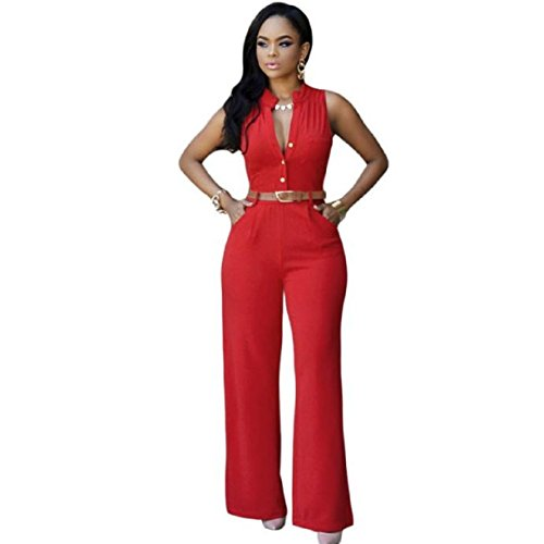 Lookatool Women's Sexy Plunge V Neck Belted Wide Leg Jumpsuits Dress With Belt (L, Red)