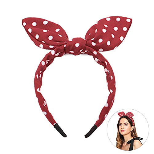 Huachi Bow Headbands for Girls Women Cute Hair Bands Red Polka Dot Vintage Headwrap Retro Hair Hoops Knotted Ribbon with Bunny Ears Hair Accessories (Women Clothes Disney For)