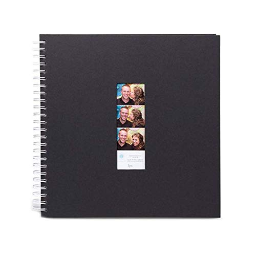 Photo Booth Album - Blank Guest Book To Sign In With Photo Booth Window Strip On Front - 50 Pages, Black (1 Pack) (Photo Booth Picture Album)