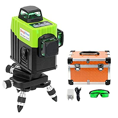 DINGCHAO Laser Level Green 360 Self Leveling 3 X 360 Line Laser Vertical Horizontal Three-Plane Leveling and Alignment-Line Laser with Pulse Mode Receiver Function Multi-Function Construction Tools