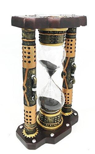 Ebros Gift Endless Time Shifting Warp Column Pillars Steampunk Gearwork Sandtimer Black Sand Figurine Sculpture Sand Timers Victorian Industrial Sci Fi Decor 4