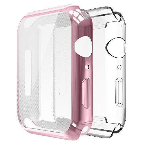 [2-Pack] Simpeak Compatible with Apple Watch 4 Screen Protector Case 40mm, [All-Around] Soft Screen Protector Bumper Cover for 40mm Apple Watch Series 4(2018), Clear+Rose Gold