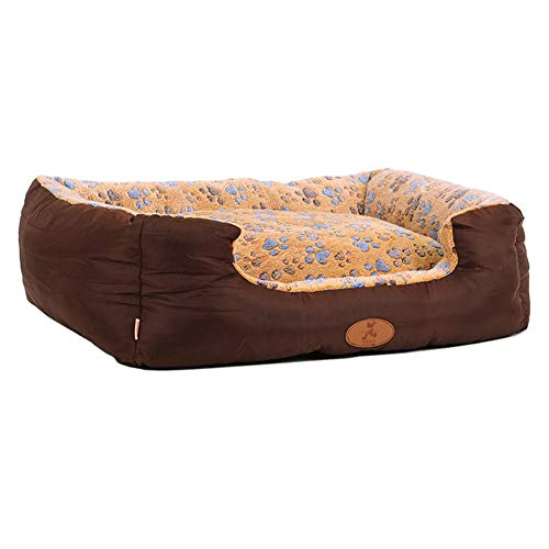 LXLA - Brown Deluxe Dog Bed Soft Washable Pet Basket Cushion with Fleece Lining for Dogs (Size : 75×62×25cm) -