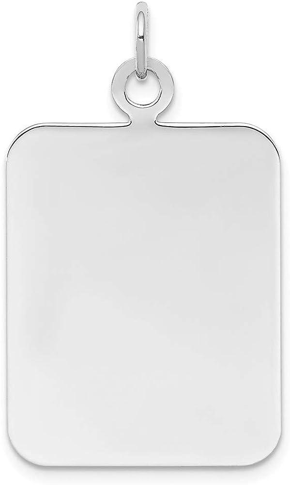 Solid 925 Sterling Silver Engravable Rectangle Front//Back Disc Charm Brushed Matte Finish Pendant