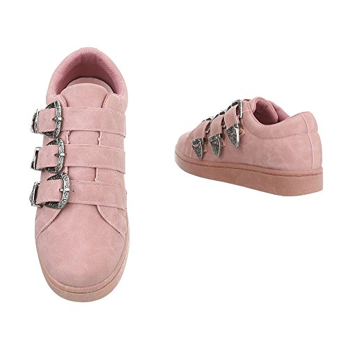 Mode Ital Design Femme Espadrilles Low Baskets Rose Plat Sneakers FWtnxcqA6