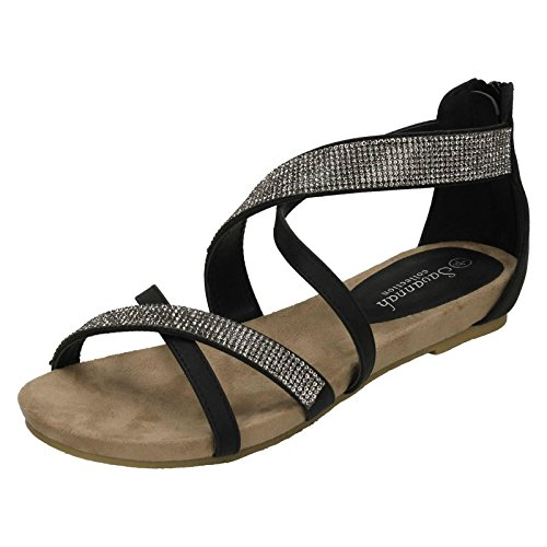Ladies Savannah Style 595 Low Wedge Diamante X Strap Sandals Black