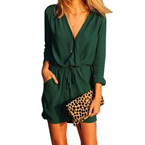 Caopixx Chiffon Summer Dress, Ladies V Neck Chiffon Loose Dress Strappy Mini Sundress (Asia Size L, Green) Mini Dress Kimono Top