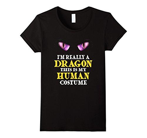 Womens I'm Really A Dragon Halloween Costume Shirt Easy Funny Small Black -