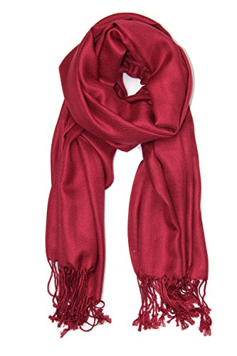 - Achillea Large Soft Silky Pashmina Shawl Wrap Scarf in Solid Colors (Burgundy)