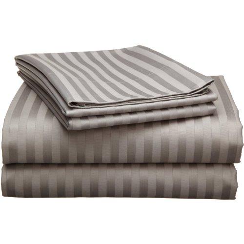 - Echelon 800 Egyptian Stripe Queen Sheet Set, Pewter