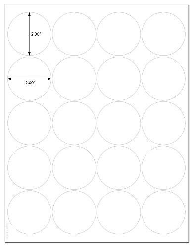 Waterproof CLEAR GLOSS 2 Inch Diameter Round Labels for Laser Printers with Downloadable Template and Printing Instructions, 5 Sheets, 100 Labels (JC2)