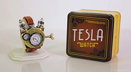 Thinkgeek Steampunk Styled Tesla Analog Watch Weathered Brass Look On Metal Findings Plus Leather Strap