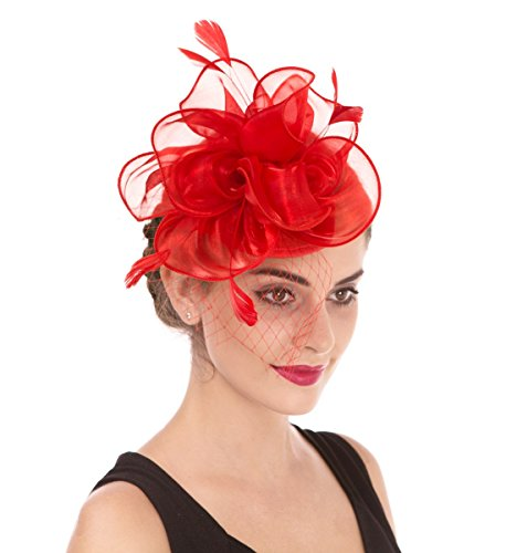 (SAFERIN Fascinator Hat Feather Mesh Net Veil Party Hat Flower Derby Hat with Clip and Hairband for Women (TA2-Foral Mesh Red))