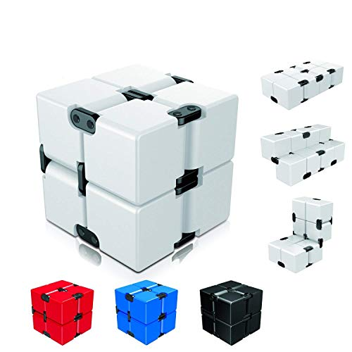 Ganowo Infinity Cube Fidget Toy for Kids and Adults, Fidget Cube Cool Mini Magic Cube Gadget Spinner for Stress and Anxiety Relief and Kill Time (White)