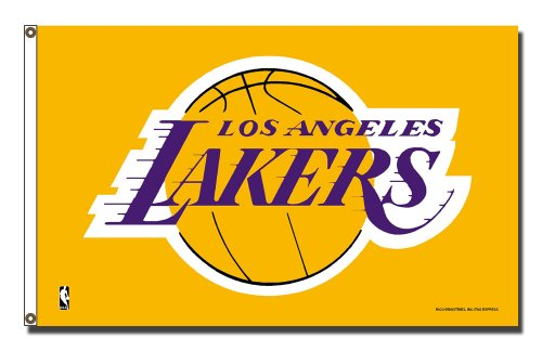 Rico Industries NBA Los Angeles Lakers 3-Foot by 5-Foot Single Sided Banner Flag with Grommets by Rico Industries