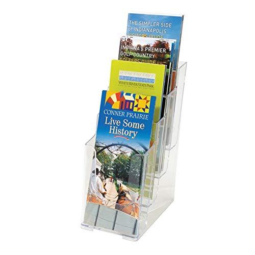 Docuholder Multi Compartment (Deflecto Multi-Compartment Docuholder, Countertop or Wall Mount, 4-Tiered Literature Holder, Small Size, Clear, 4-7/8