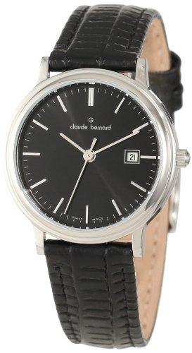 Claude Bernard Women's 31211 3 NIN Classic Ladies Black Dial Leather Date Watch