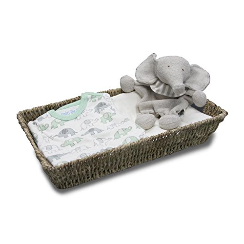 Lifekind Organic Baby Gift Set - Swaddler Basket with Elephant (newborn - 3 months)