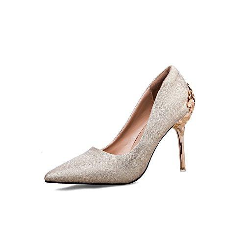 Trente Mode Femmes Hauts Chaussures Pour En Et Talons Plaques quatre Mtal Golden qC7vq