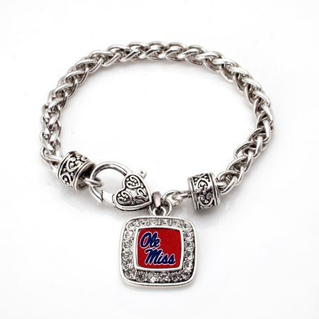 Ole Miss University of Mississippi Rebels Classic Silver Plated Square Crystal Charm - Square State Logo Mississippi