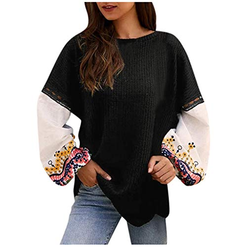 Aunimeifly Boho Women Stylish Blouse Casual O-Neck Shirts Floral Print Patchwork Long Sleeve Tops Loose T-Shirt (L,Black) (Best Shower Speaker Uk)
