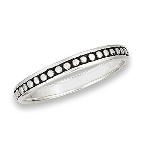 Prime Jewelry Collection Sterling Silver Women's Thin Filigree Eternity Bead Stackable Bali Ring (Sizes 1.5-8) (Ring Size ()