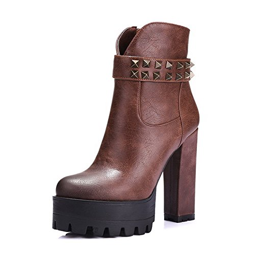 WeiPoot Women's Blend Materials Assorted Color Closed-Toe Boots with Sole Slip Resistance and Rough Heels, Brown, 34