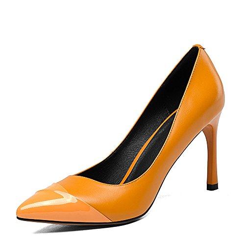 Nine Seven Cuero Moda Puntiagudos Tacones de Aguja de Vestir para Mujer naranja