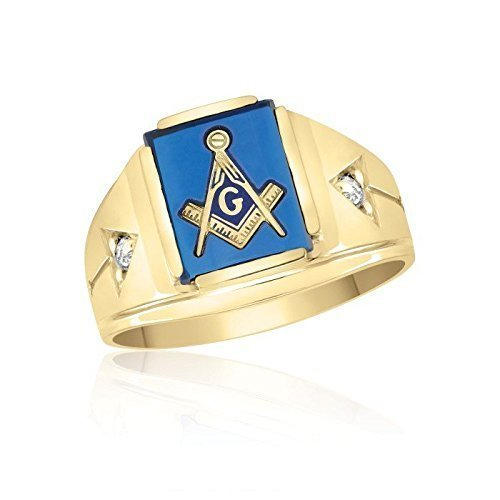 10K Yellow Gold Inlayed Blue Spinal Masonic Ring with Cubics by Ice Gold Jewellery Inc