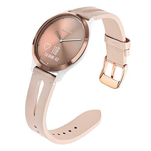 TRUMiRR for Vivomove HR Women Watchband, Genuine Leather Watch Band Quick Release Strap Rose Gold Stainless Steel Clasp Bracelet for Garmin Vivomove HR Sport/Vivomove HR Premium All Versions