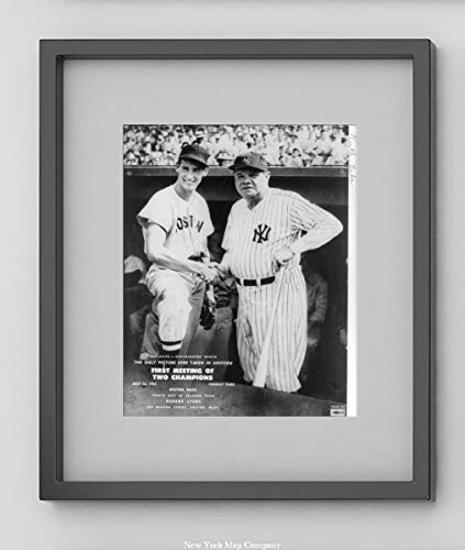 (New York Map Company  Ted Williams & Babe Ruth at Fenway Park, July 13, 1943|